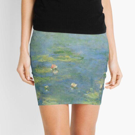 Claude Monet - Water Lilies - Blue & Green Mini Skirt