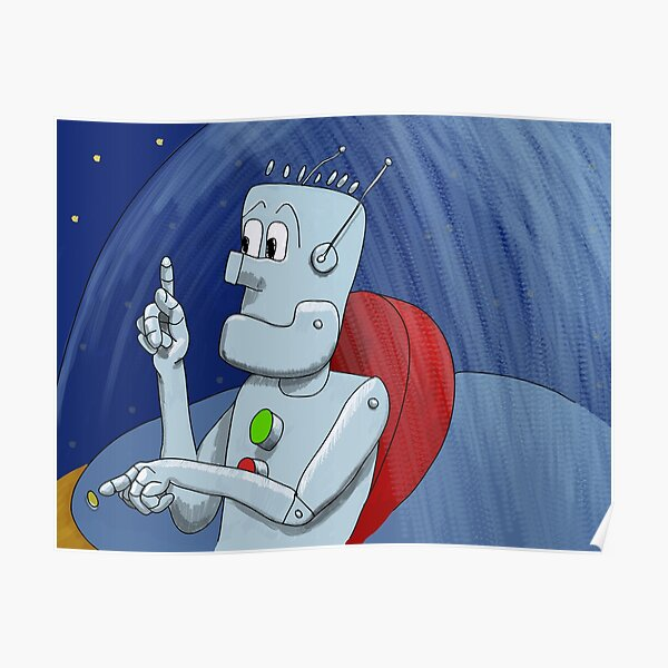 Newtral the Robot Pointing Out Poster