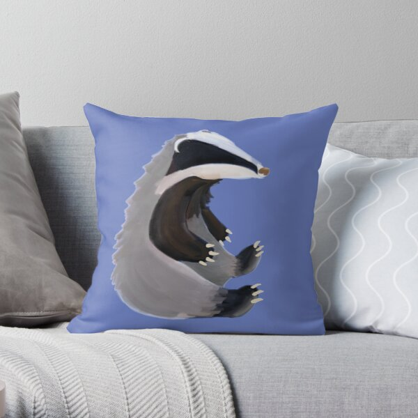 Sitting Badger Throw Pillow