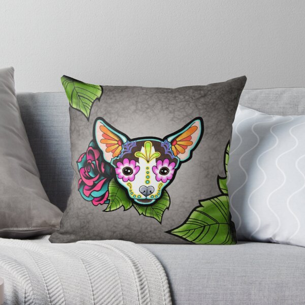 Day of the Dead Chihuahua in Moo Sugar Skull Dog Throw Pillow