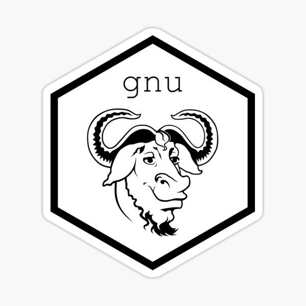 R GNU hex bull Sticker