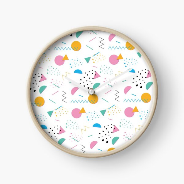 Bright 80's Party Pattern Clock