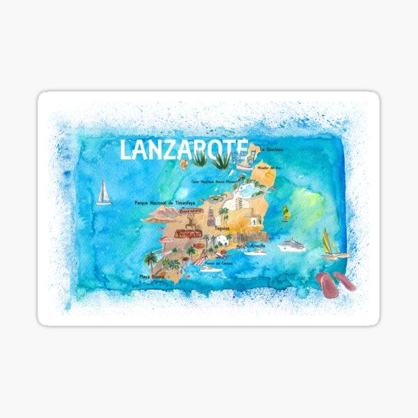 Mapa ilustrado de Lanzarote Canarias España con puntos de referencia y destacados Pegatina