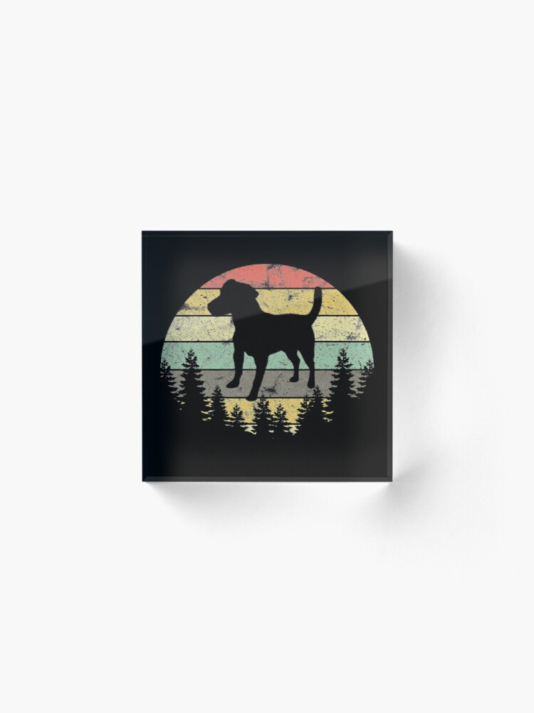 Alternate view of Patterdale Terrier Dog Retro Sun Forest Patterdale Puppy Acrylic Block