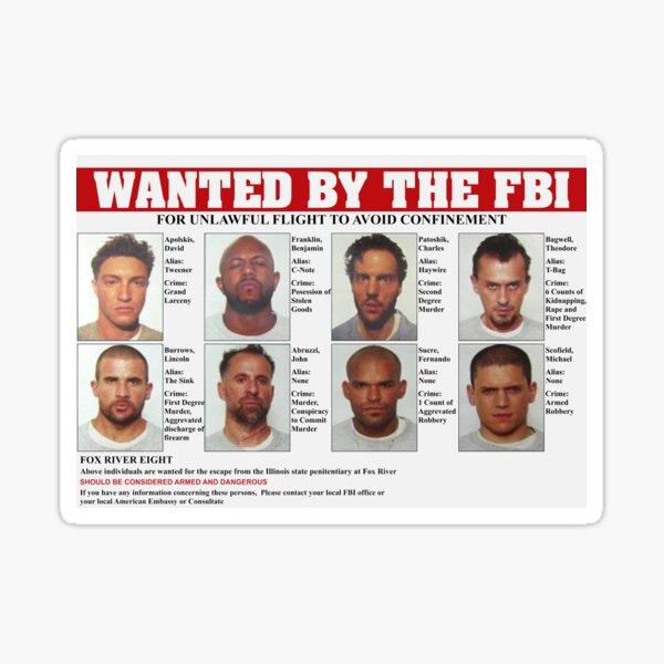 Prison Break FBI quería cartel Pegatina