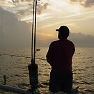 Fishing at Sunset in the Gulf of Mexcio by Dennis Cheeseman