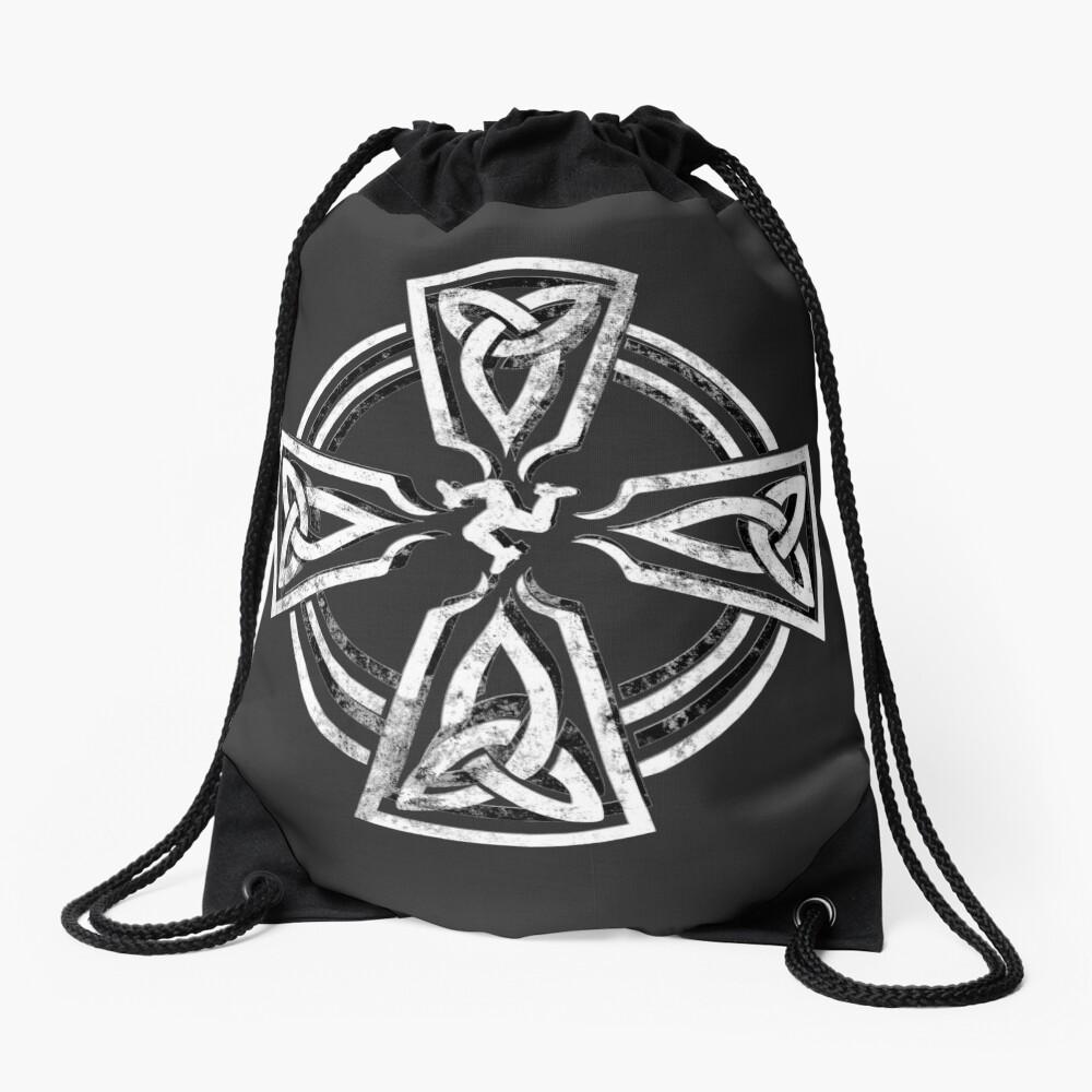 Celtic Cross Manx Cross 3 Legs Isle Of Man Gaelic Traditional Knots Drawstring Bag