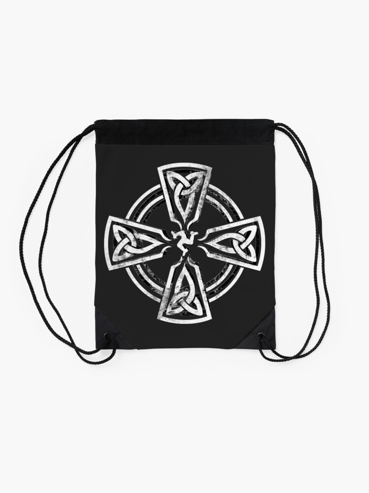 Alternate view of Celtic Cross Manx Cross 3 Legs Isle Of Man Gaelic Traditional Knots Drawstring Bag