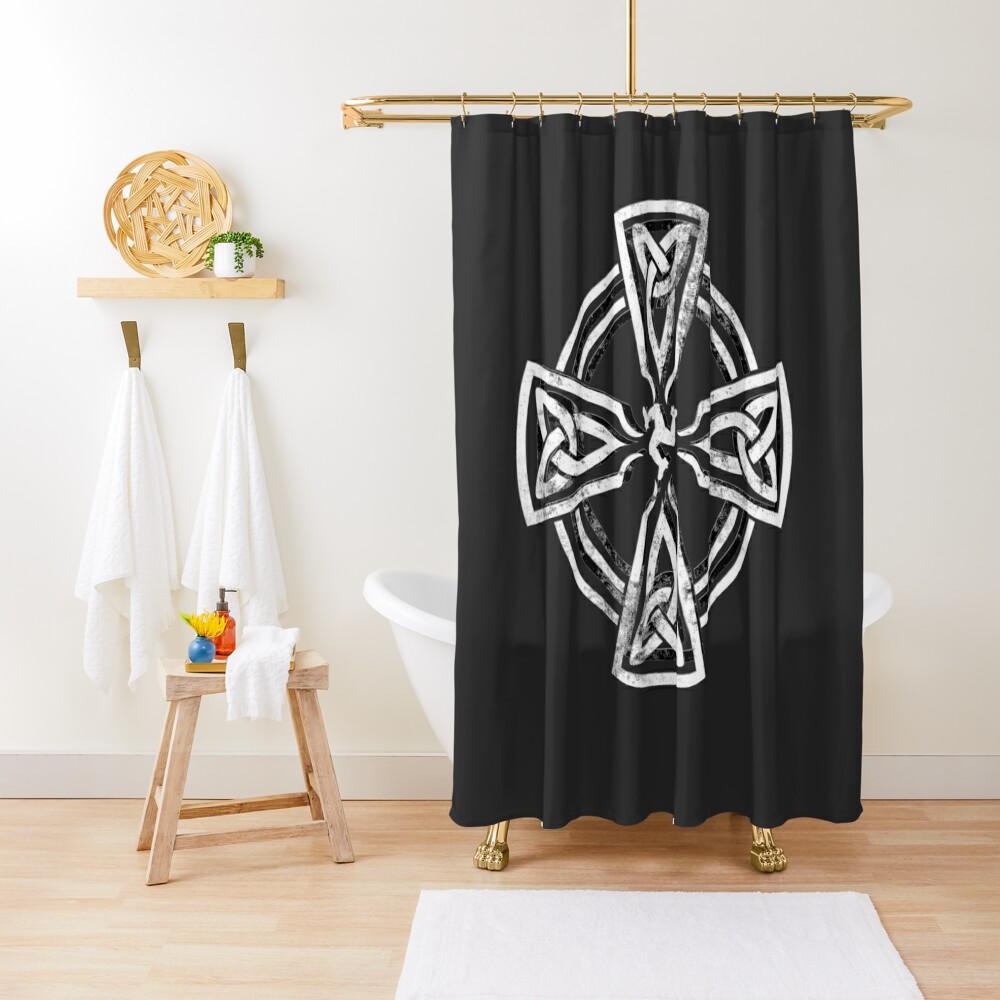 Celtic Cross Manx Cross 3 Legs Isle Of Man Gaelic Traditional Knots Shower Curtain