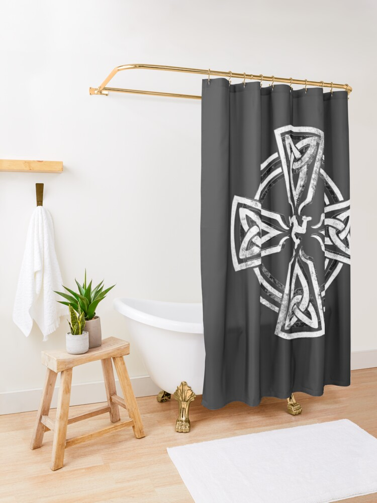 Alternate view of Celtic Cross Manx Cross 3 Legs Isle Of Man Gaelic Traditional Knots Shower Curtain