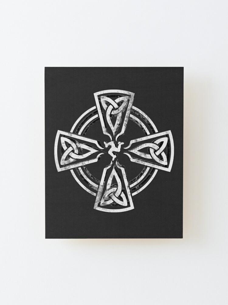 Alternate view of Celtic Cross Manx Cross 3 Legs Isle Of Man Gaelic Traditional Knots Mounted Print