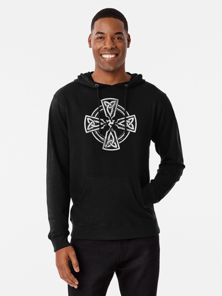 Alternate view of Celtic Cross Manx Cross 3 Legs Isle Of Man Gaelic Traditional Knots Lightweight Hoodie