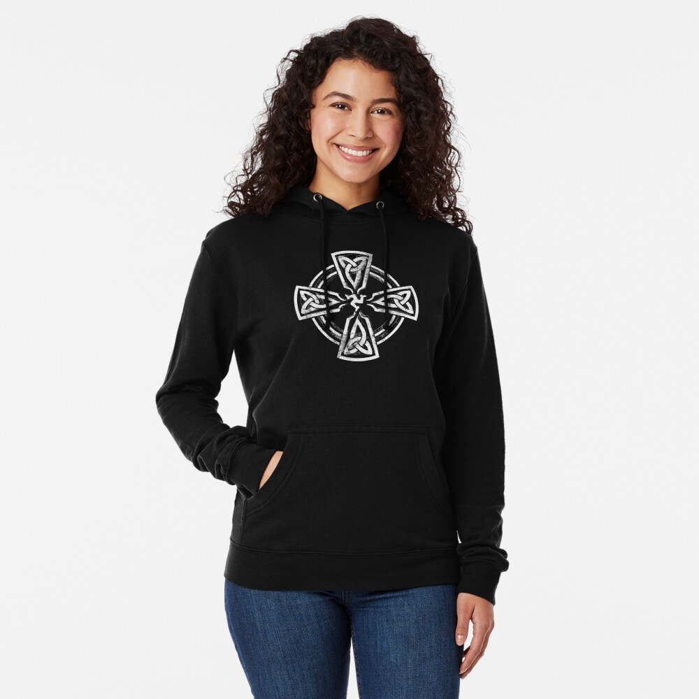 Celtic Cross Manx Cross 3 Legs Isle Of Man Gaelic Traditional Knots Lightweight Hoodie