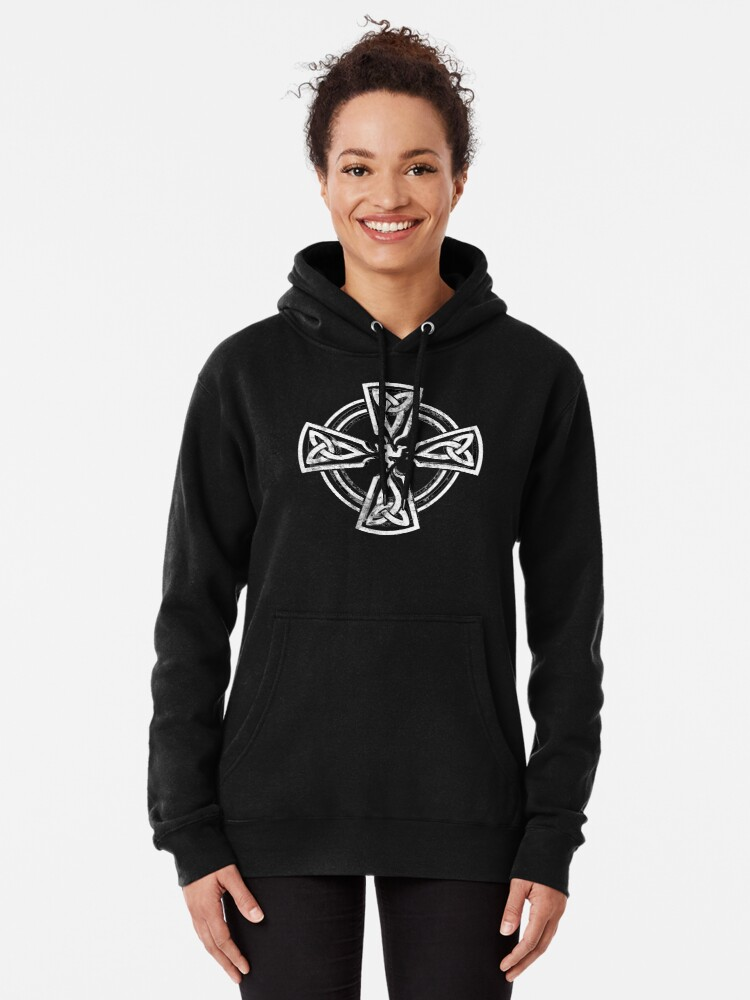 Alternate view of Celtic Cross Manx Cross 3 Legs Isle Of Man Gaelic Traditional Knots Pullover Hoodie