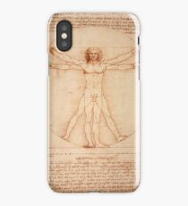 Vitruvian Man by Leonardo Da Vinci (1490) iPhone Case