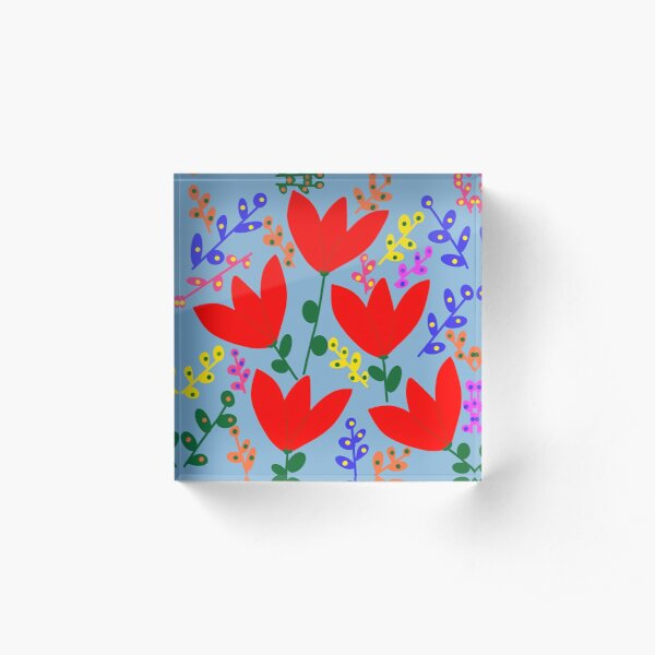 Stylized red tulip pattern on a blue background Acrylic Block