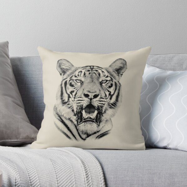 Tiger Portrait of Majestic Male Bengal Tiger Throw Pillow