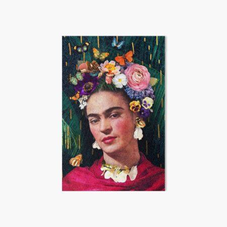 Portrait floral de Frida Kahlo Impression rigide