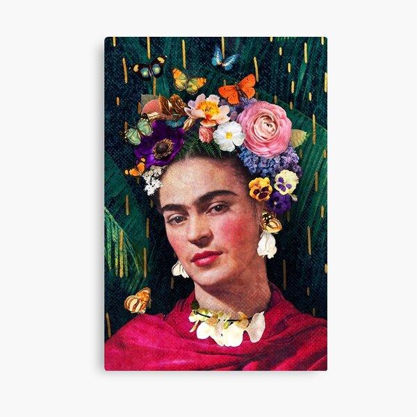 Portrait floral de Frida Kahlo Impression sur toile