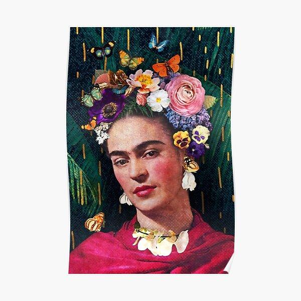 Portrait floral de Frida Kahlo Poster