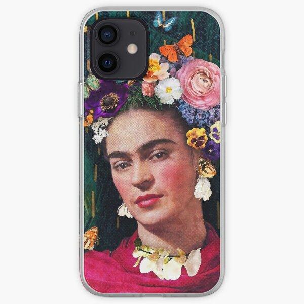 Retrato floral de Frida Kahlo Funda blanda para iPhone