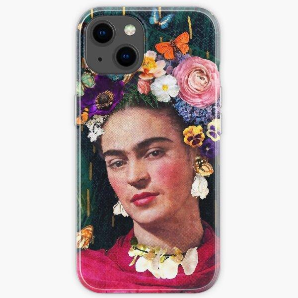 Portrait floral de Frida Kahlo Coque souple iPhone