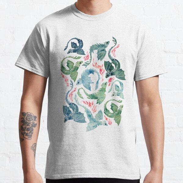 Dragon fire blue & green Classic T-Shirt