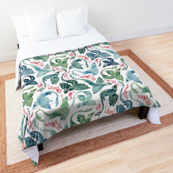 Dragon fire blue & green Comforter