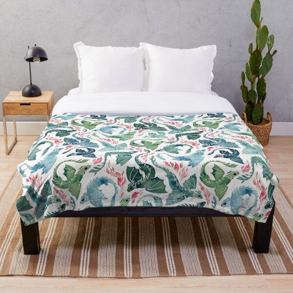 Dragon fire blue & green Throw Blanket
