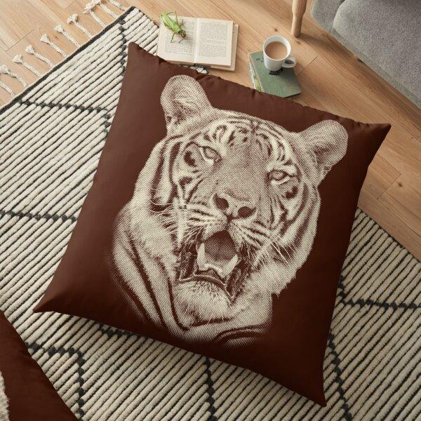 Bengal Tiger Portrait in Vintage Sepia Floor Pillow