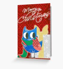 Patchwork Christmas Owl Greeting Card