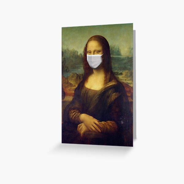Mona Lisa Corona mask Greeting Card