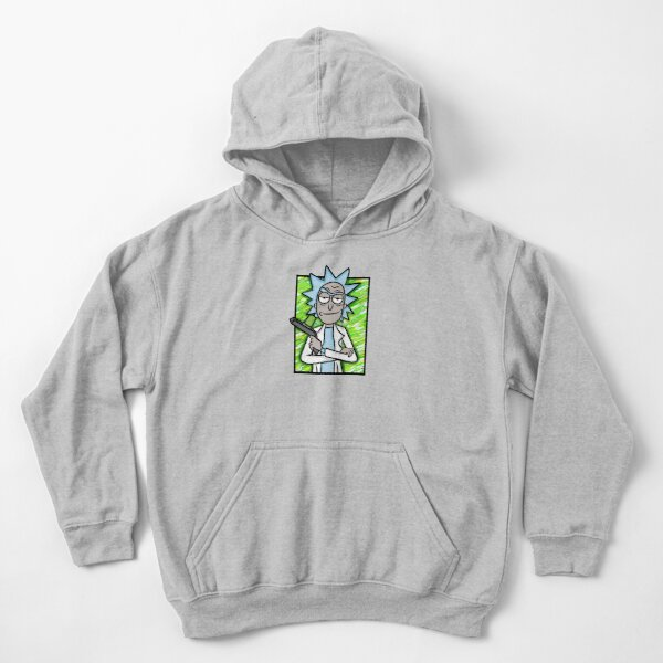 Rick Sanchez with Portal Gun  - Rick and Morty Kids Pullover Hoodie