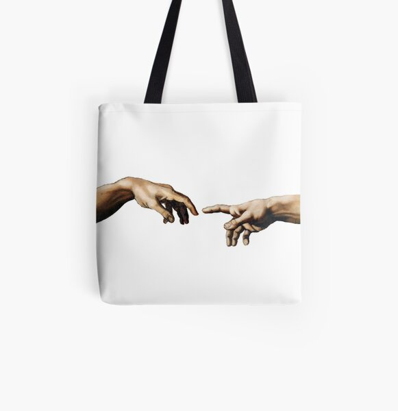 graphke The Creation Of Adam The Hands Finger Touch Illustration Sketch Canvas Tote Bag Sac Fourre Tout en Toile