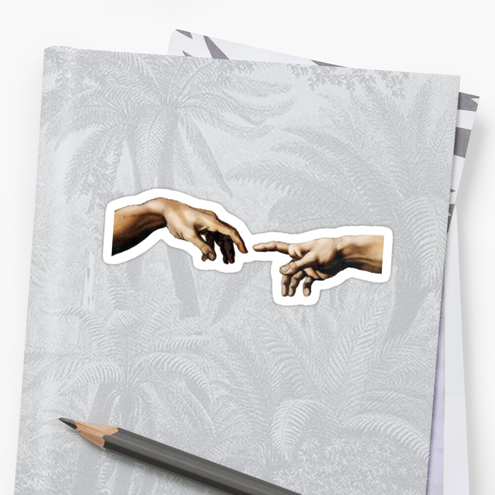 Quot Creation Of Adam Hands Quot Sticker By Eclecticmess Redbubble