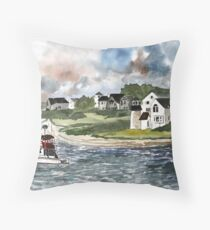 Cape Cod Lighthouse and boat Throw Pillow