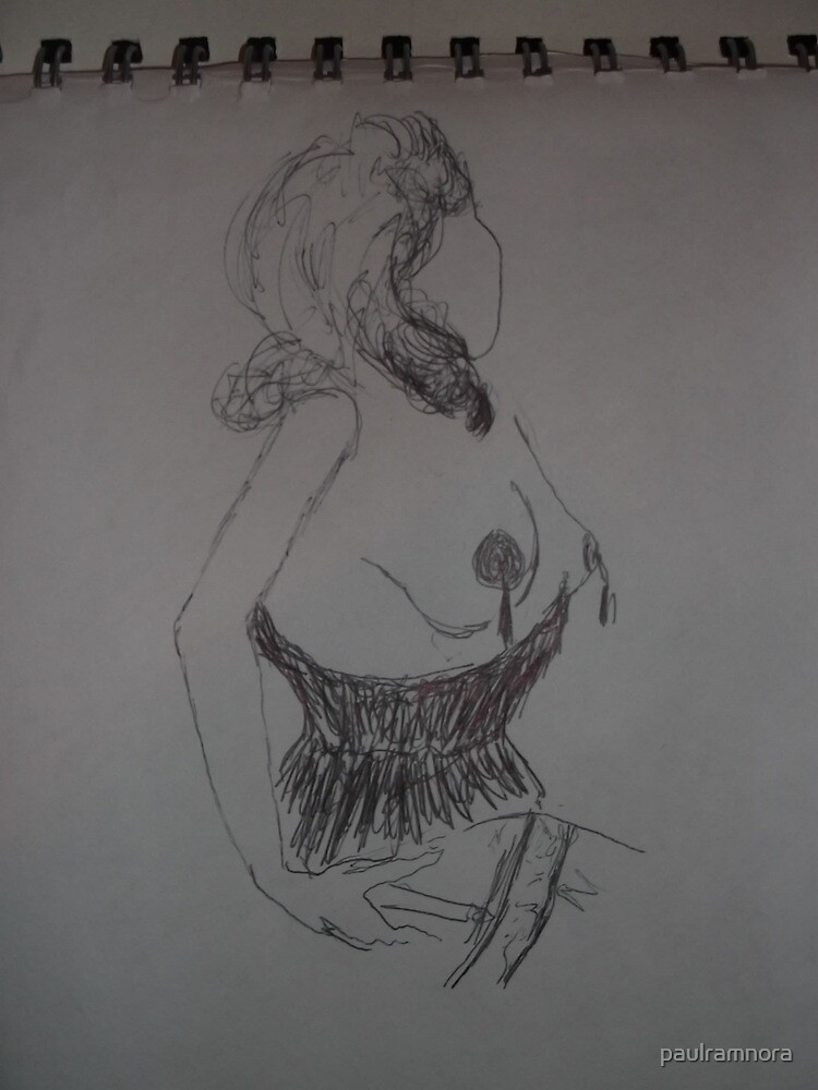 Life drawing(1 of 6) -(080212)- black biro pen/digital photo by paulramnora