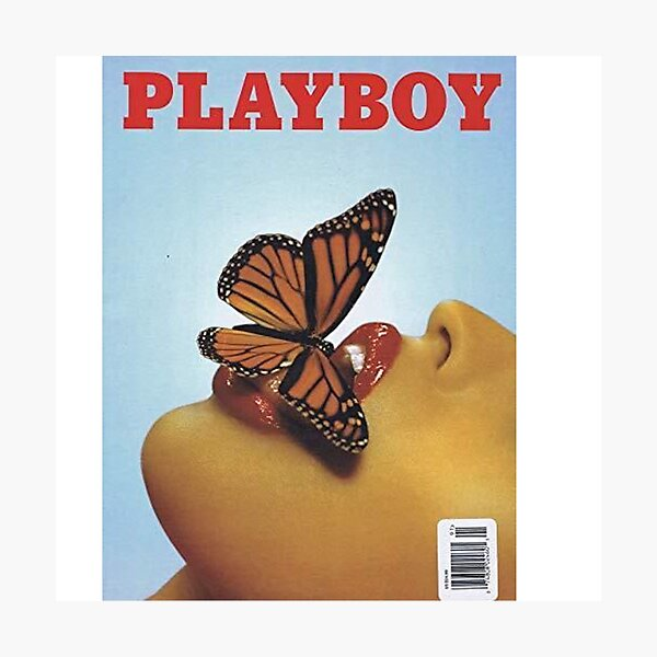 Vintage Blue Playboy Poster  Photographic Print