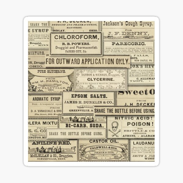 Collage of vintage pharmacy labels Sticker
