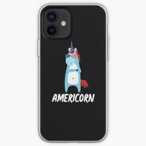 Americorn Cool Unicorn In Sunglasses American Flag Design 4th July National Holiday Proud Gift Graphic  iPhone Soft Case