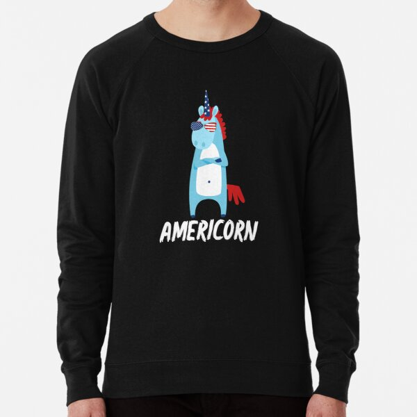 Americorn Cool Unicorn In Sunglasses American Flag Design 4th July National Holiday Proud Gift Graphic  Lightweight Sweatshirt