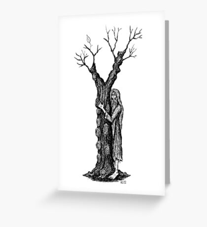 Unity of Souls surreal black and white pen ink drawing Greeting Card