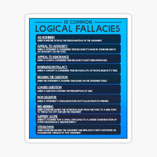 Common Logical Fallacies Chart Sticker