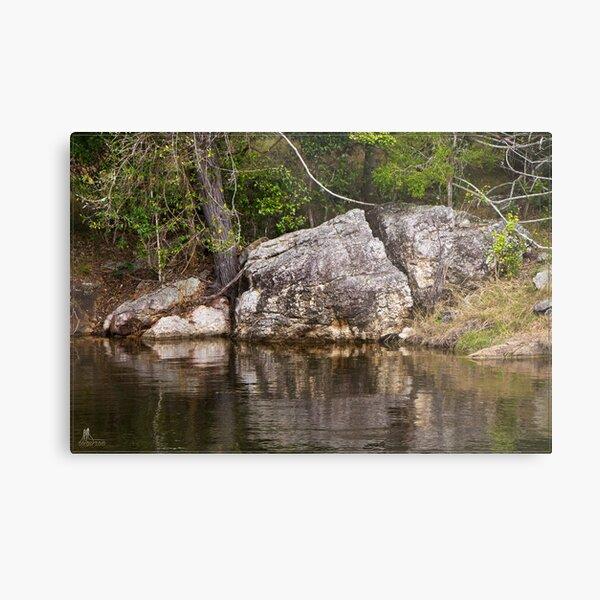 Somerset Dam - Rock & Tree Metal Print