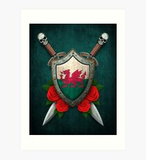 Welsh Flag on a Worn Shield and Crossed Swords Art Print