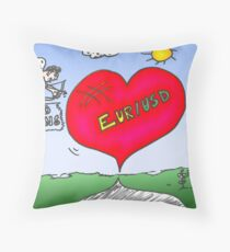 Caricature options binaires - Cupidon trading EUR / USD Throw Pillow