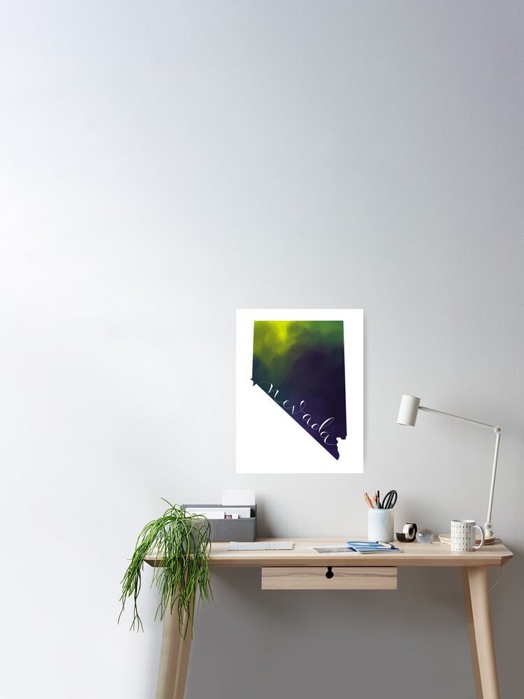 Nevada Shape Outline Poster By Sodesigns Redbubble