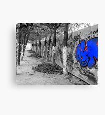 Brussels Wall, Trees, Graffiti Canvas Print