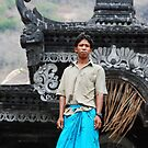 Nyoman at temple by Michael Brewer