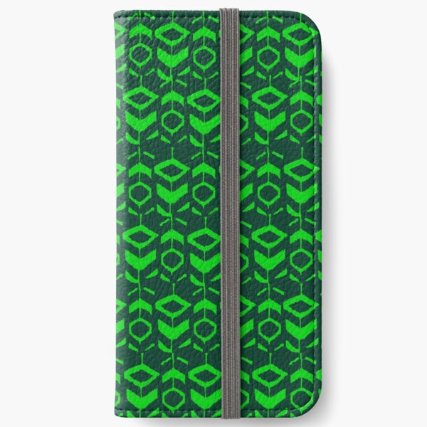 Green flower pattern with green background iPhone Wallet